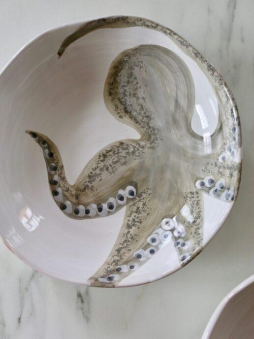 piatto ceramica con polpo