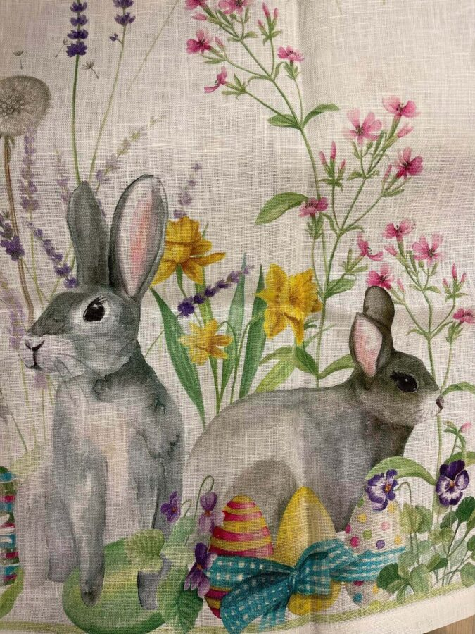 tessuto con stampe animali con coniglietti e uova pasquali